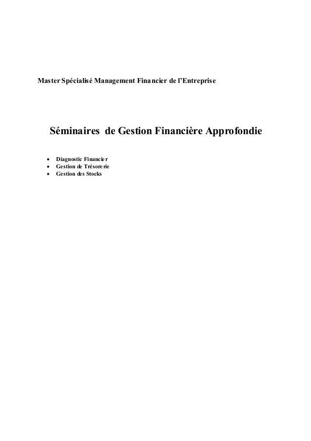 Master Spécialisé Management Financier de l'Entreprise  Séminaires de Gestion Financière Approfondie        Diagnosti...