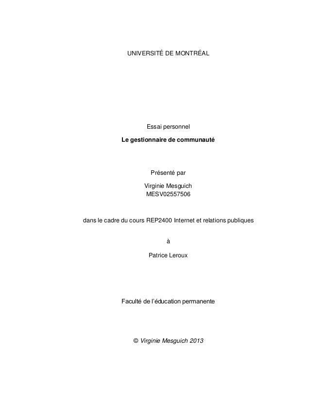 UNIVERSITÉ DE MONTRÉAL  Essai personnel Le gestionnaire de communauté  Présenté par Virginie Mesguich MESV02557506  dans l...