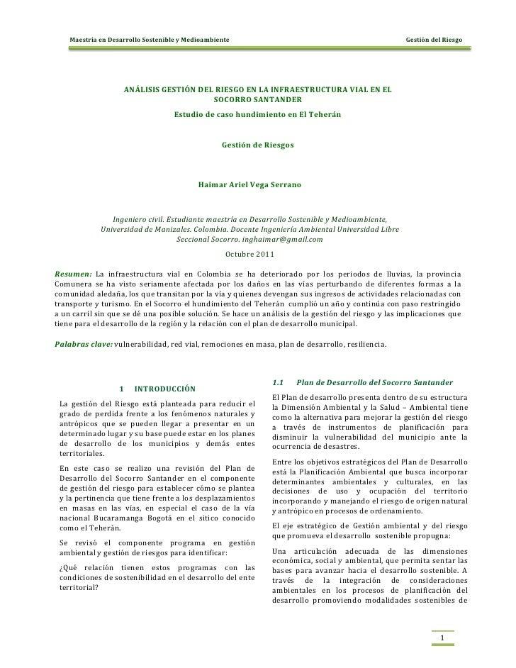 Maestría en Desarrollo Sostenible y Medioambiente                                               Gestión del Riesgo        ...