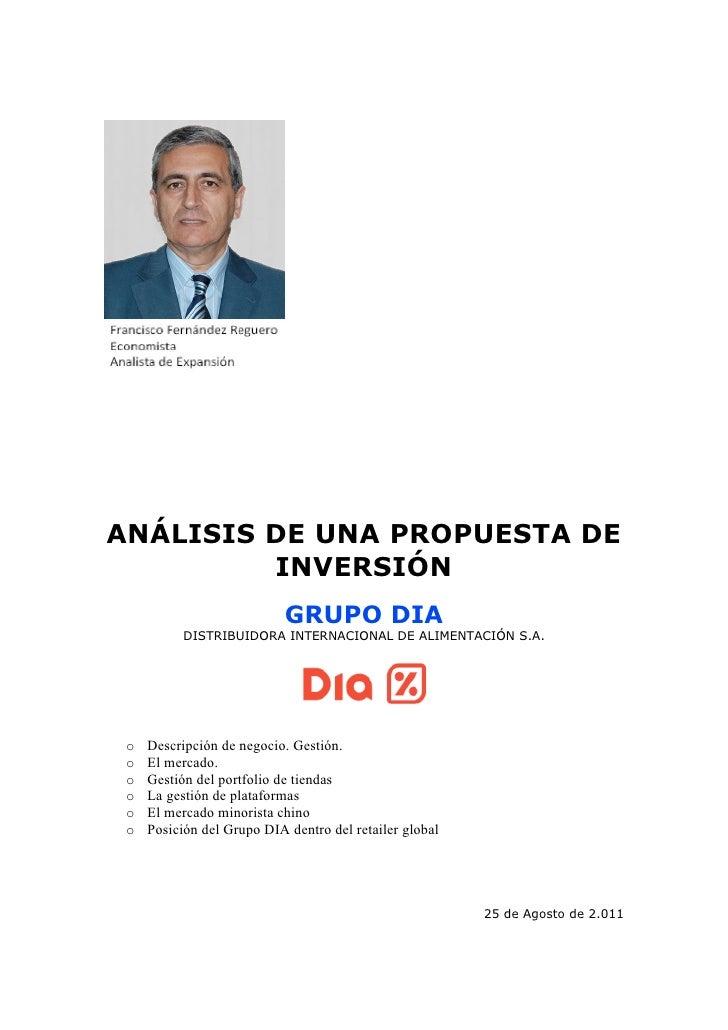 ANÁLISIS DE UNA PROPUESTA DE         INVERSIÓN                            GRUPO DIA           DISTRIBUIDORA INTERNACIONAL ...