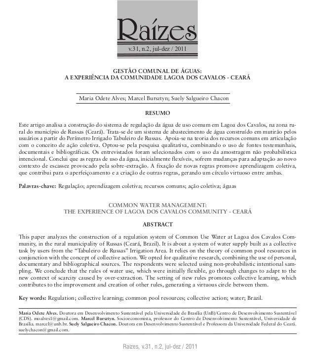 Raízesv.31, n.2, jul-dez / 2011Raízes, v.31, n.2, jul-dez / 2011GESTÃO COMUNAL DE ÁGUAS:A experiência da Comunidade Lagoa ...