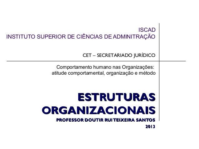 ISCAD INSTITUTO SUPERIOR DE CIÊNCIAS DE ADMINITRAÇÃO CET – SECRETARIADO JURÍDICO Comportamento humano nas Organizações: at...