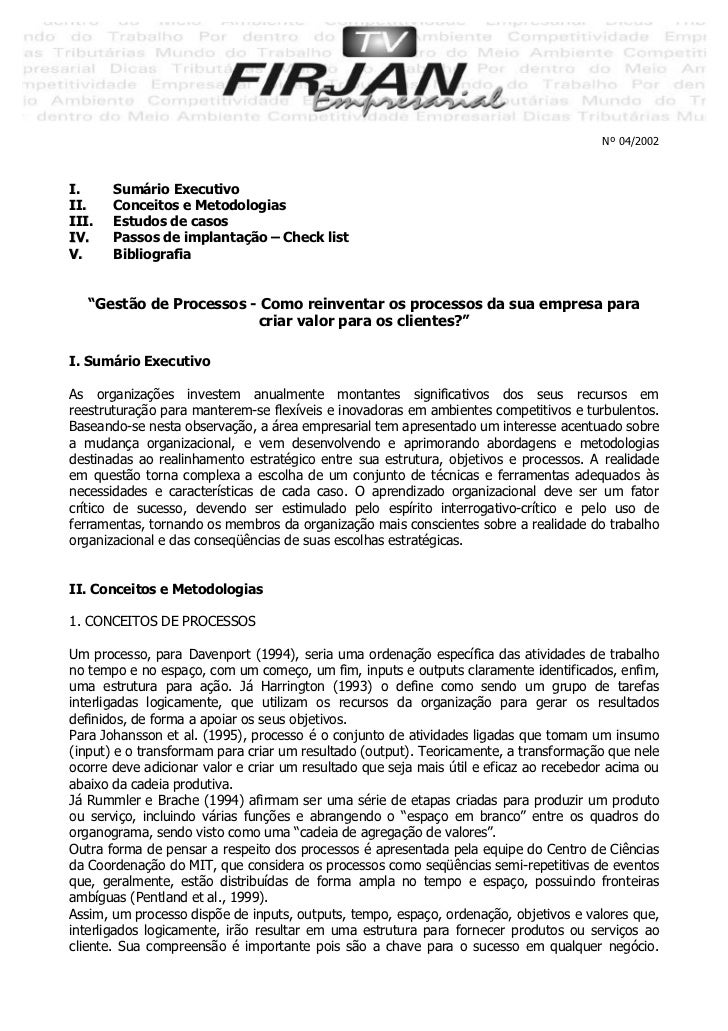 Nº 04/2002I.     Sumário ExecutivoII.    Conceitos e MetodologiasIII.   Estudos de casosIV.    Passos de implantação – Che...