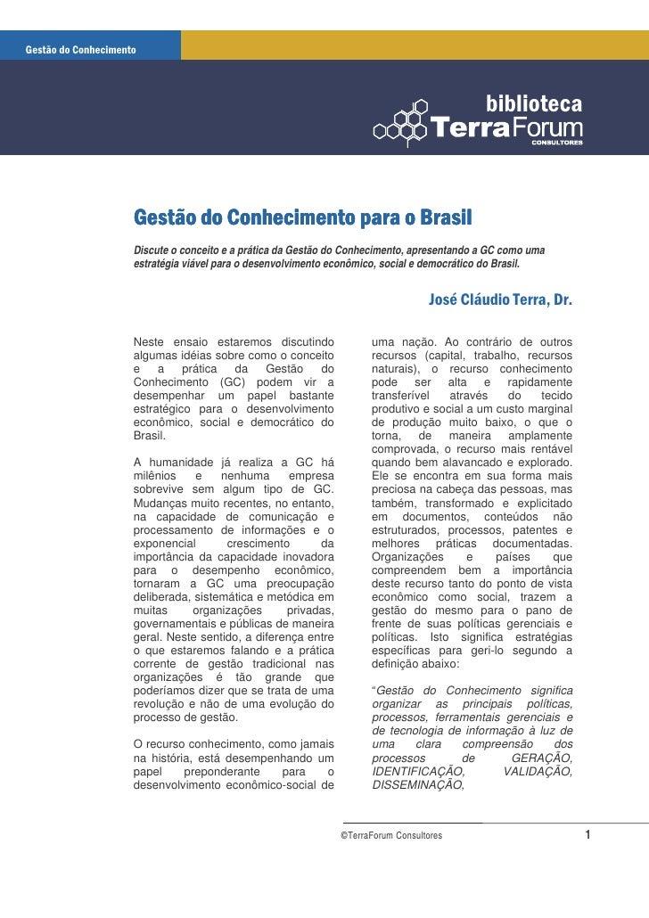 Gestão do Conhecimento para o Brasil