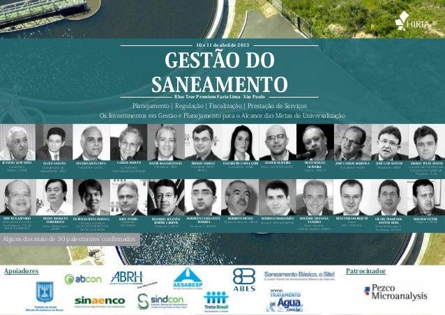 www.hiria.com.br • 11 5093 7847 GESTÃO DO SANEAMENTO Planejamento | Regulação | Fiscalização | Prestação de Serviços Os In...