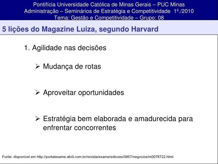 Pontifícia Universidade Católica de Minas Gerais – PUC Minas              Administração – Seminários de Estratégia e Compe...