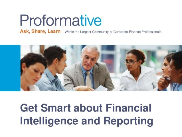 Get Smart about Financial Intelligence and Reporting