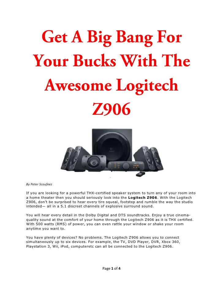The Awesome Logitech Z906 Gives You Big Bang For Your Dollars