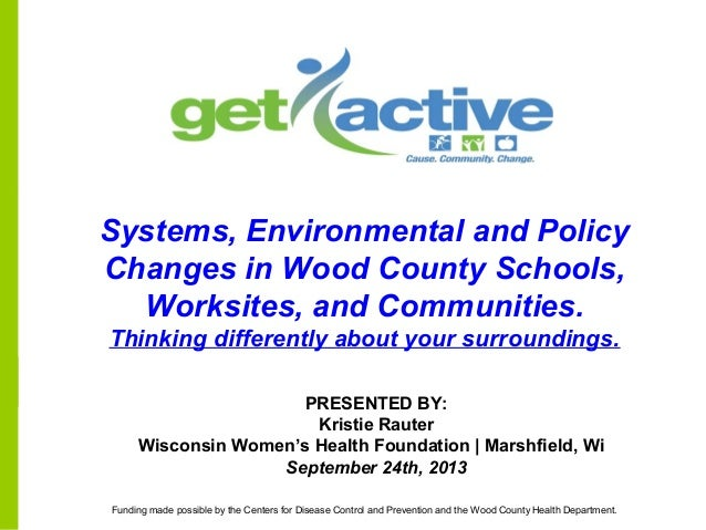 PRESENTED BY: Kristie Rauter Wisconsin Women's Health Foundation | Marshfield, Wi September 24th, 2013 Systems, Environmen...