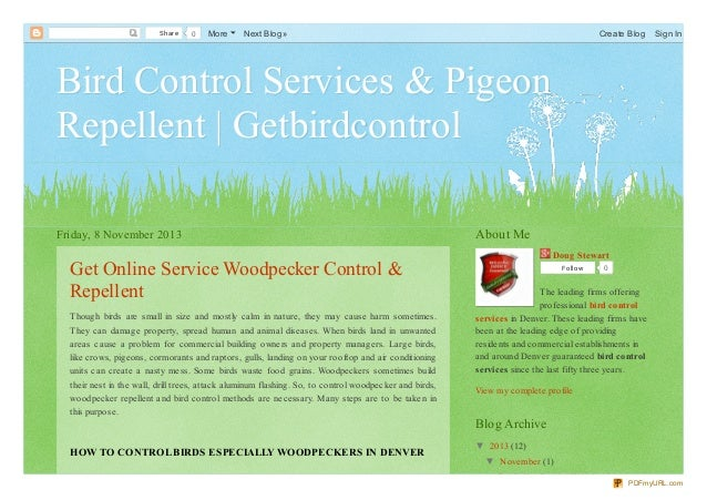 Share  0  More  Next Blog»  Create Blog  Sign In  Bird Control Services & Pigeon Repellent | Getbirdcontrol Friday, 8 Nove...