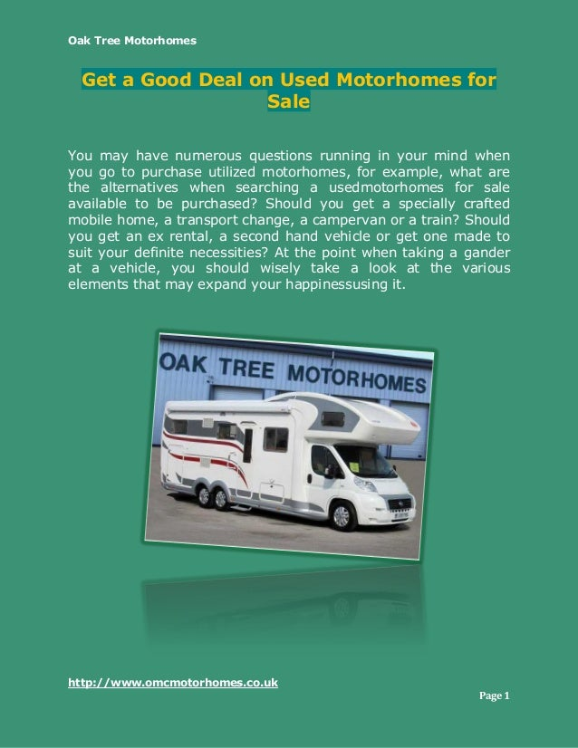 Get A Good Deal On Used Motorhomes For Sale