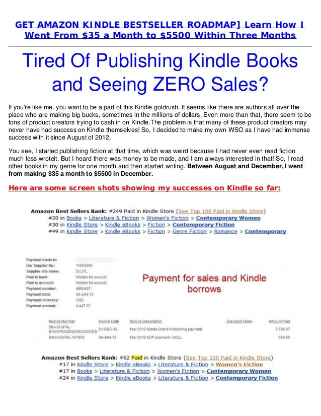 Get amazon kindle bestseller roadmap] learn how i went from $35 a month to $5500
