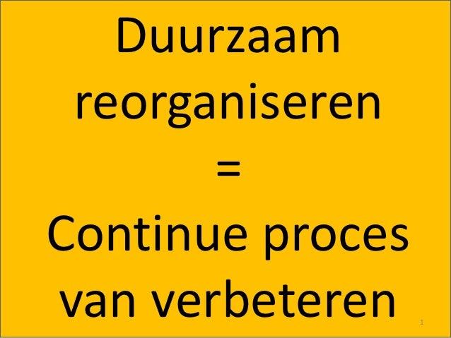 Duurzaam reorganiseren       =Continue procesvan verbeteren    1