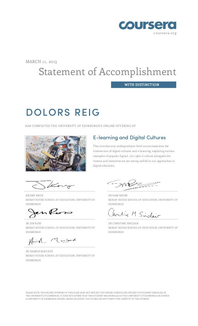 Coursera Elearning and Digital Cultures MOOC certificate