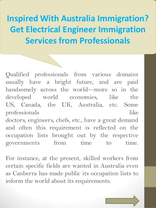 Inspired With Australia Immigration? Get Electrical Engineer Immigration Services from Professionals  Qualified profession...