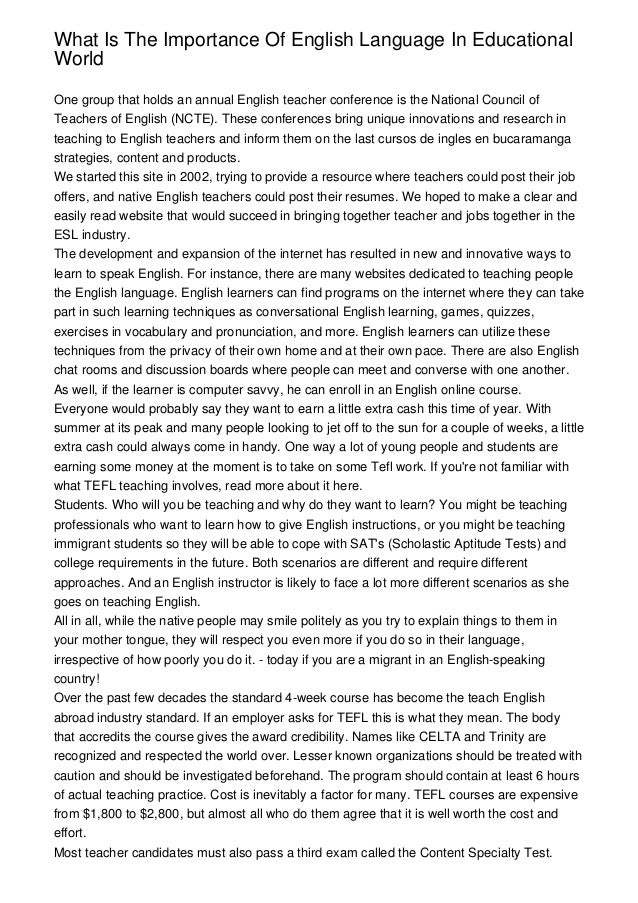 Essay on importance of english language for students