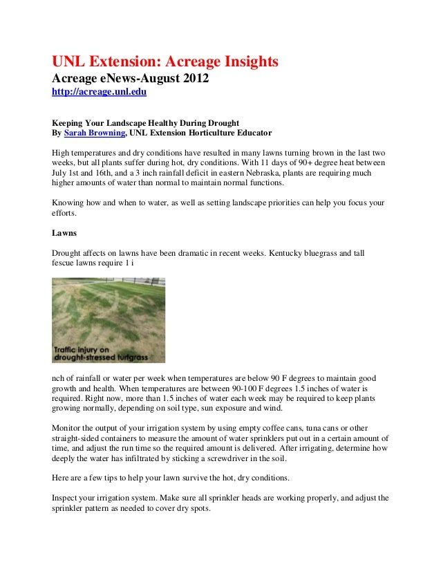 UNL Extension: Acreage InsightsAcreage eNews-August 2012http://acreage.unl.eduKeeping Your Landscape Healthy During Drough...