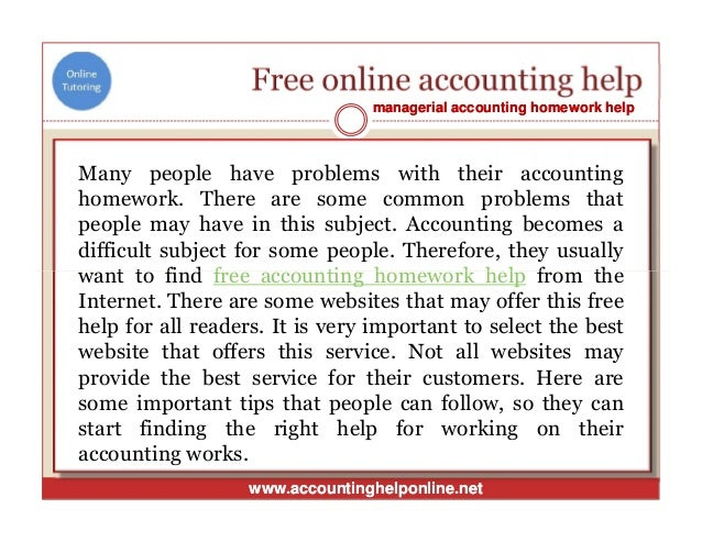 free accounting homework help