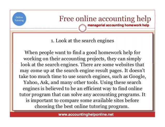 Free help solving an accounting assignment