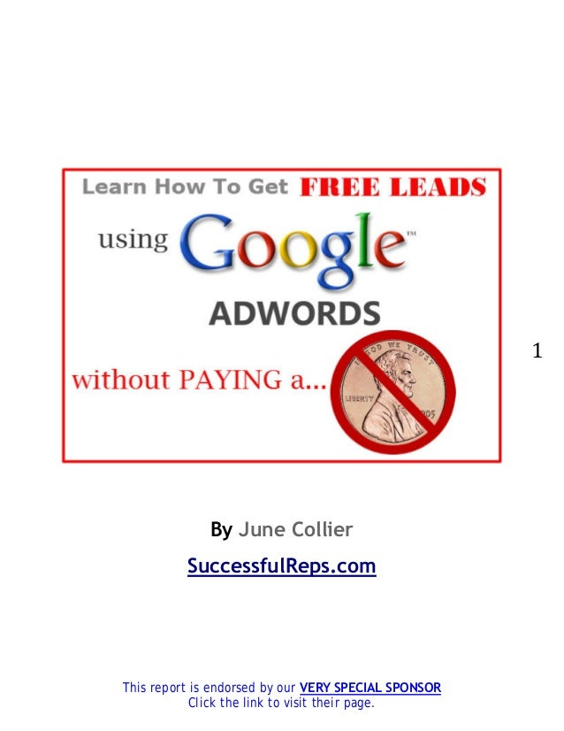 1             By June Collier          SuccessfulReps.comThis report is endorsed by our VERY SPECIAL SPONSOR           Cli...