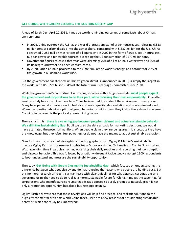 Get Going With Green: Executive Summary (China)
