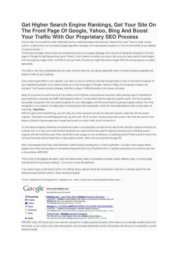 SEO, Get Higher Search Engine Rankings