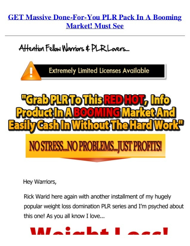Get massive done for-you plr pack in a booming market! must see