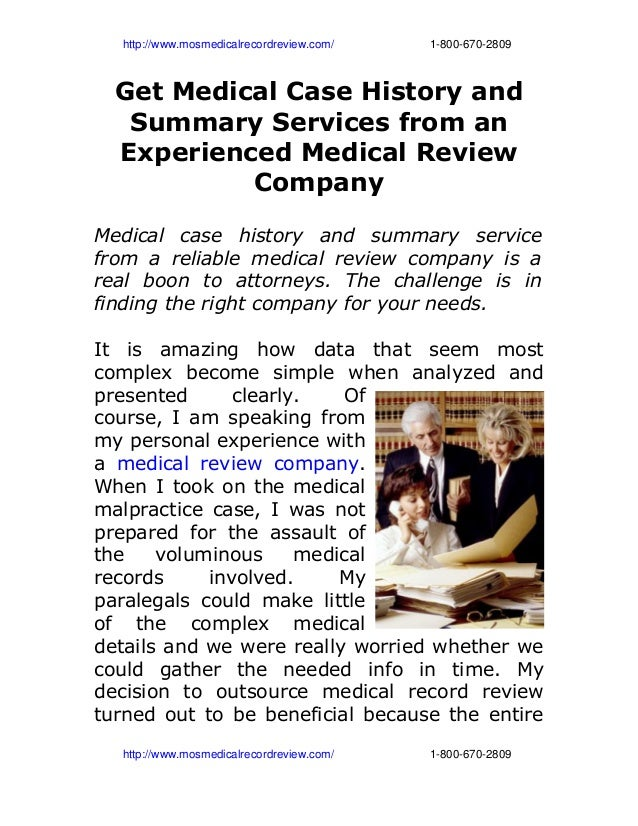 http://www.mosmedicalrecordreview.com/18006702809 Get Medical Case History and S...