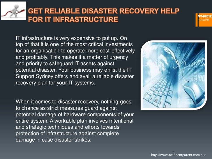 Get reliable disaster recovery help for it infrastructure  swiftcomputers.com.au