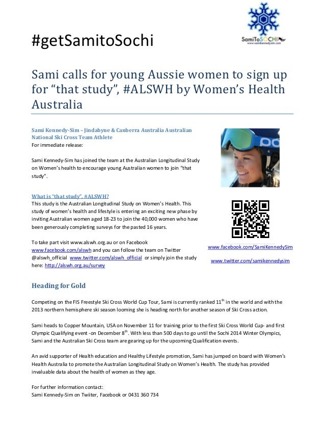 "#getSamitoSochiSami calls for young Aussie women to sign upfor ""that study"", #ALSWH by Women's HealthAustraliaSami Kennedy..."