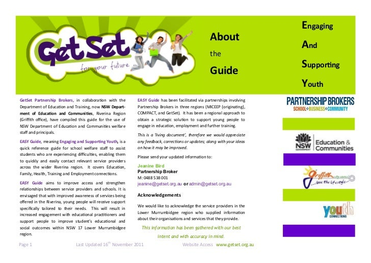 The Riverina EASY (Engaging and Supporting Youth) Guide 2011                                                              ...