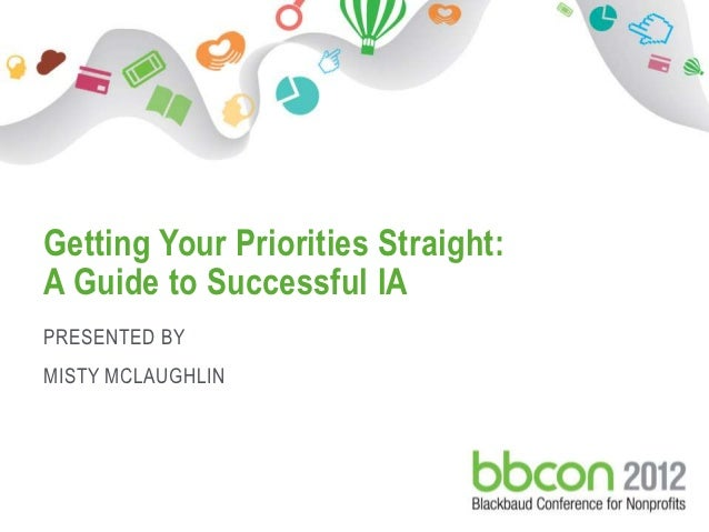 Getting Your Priorities Straight: A Guide to Successful IA PRESENTED BY MISTY MCLAUGHLIN10/23/2012   Footer    1
