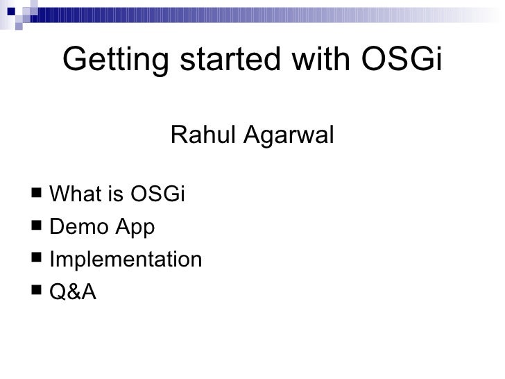 Getting Started With OSGi