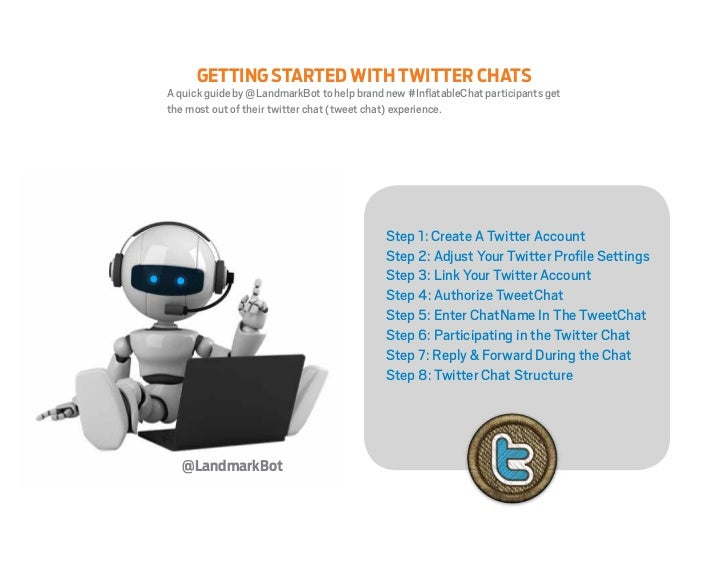 GETTING STARTED WITH TWITTER CHATSA quick guide by @LandmarkBot to help brand new #InflatableChat participants getthe most...