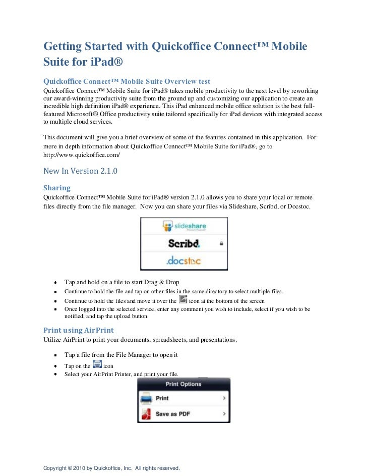 Getting Started with Quickoffice Connect™ Mobile Suite for iPad®<br />Quickoffice Connect™ Mobile Suite Overview test<br /...