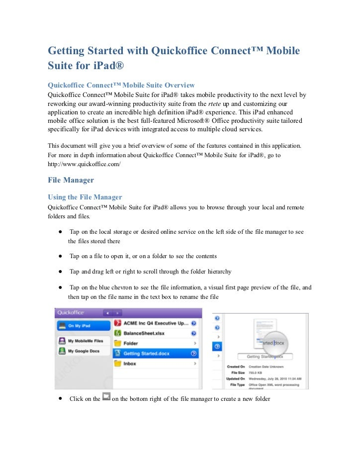 Getting Started with Quickoffice Connect™ MobileSuite for iPad®Quickoffice Connect™ Mobile Suite OverviewQuickoffice Conne...