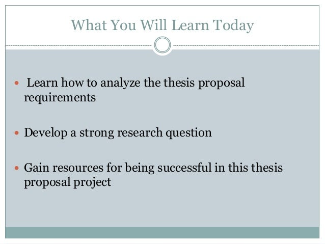 suggested thesis proposals