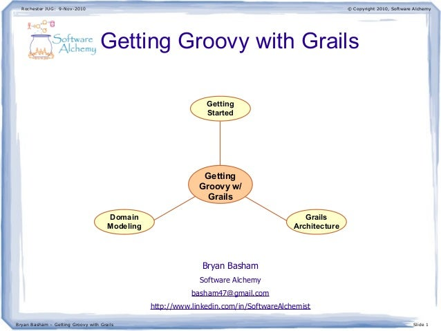 Rochester JUG: 9-Nov-2010 Bryan Basham – Getting Groovy with Grails Slide 1 © Copyright 2010, Software Alchemy Getting Gro...