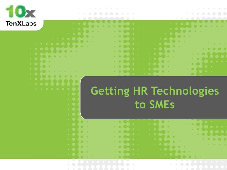 Getting HR Technologies        to SMEs