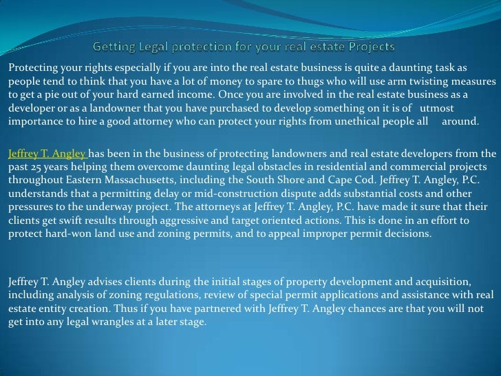 Getting legal protection for your real estate projects