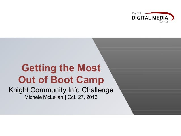 Getting the Most Out of Boot Camp Knight Community Info Challenge Michele McLellan | Oct. 27, 2013