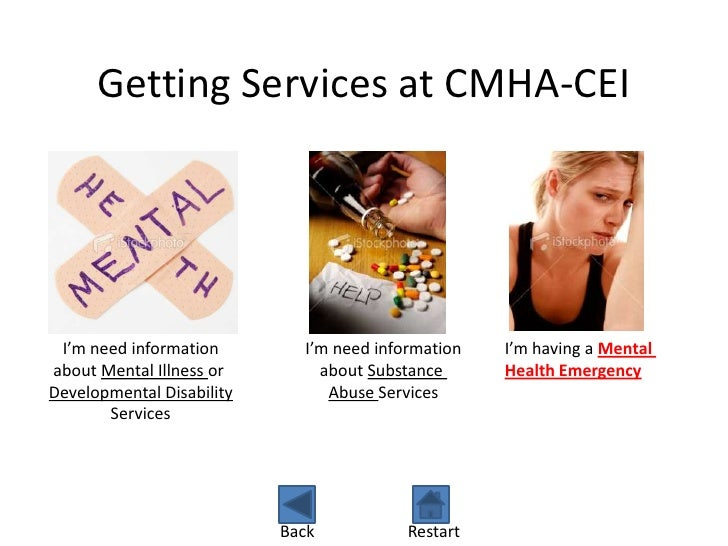 Getting Services at CMHA-CEI I'm need information        I'm need information   I'm having a Mentalabout Mental Illness or...
