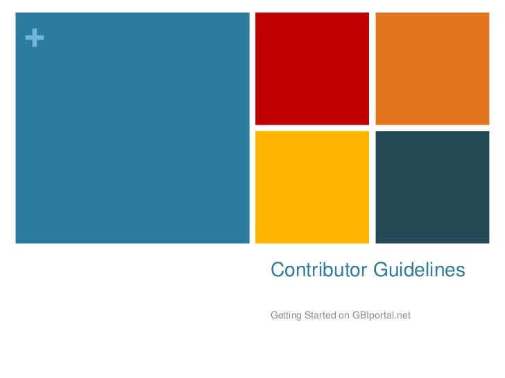 Contributor Guidelines<br />Getting Started on GBIportal.net<br />