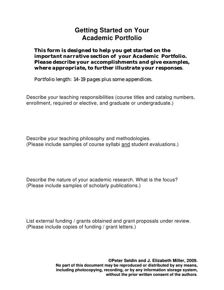 Getting Started on Your                         Academic Portfolio    This form is designed to help you get started on the...