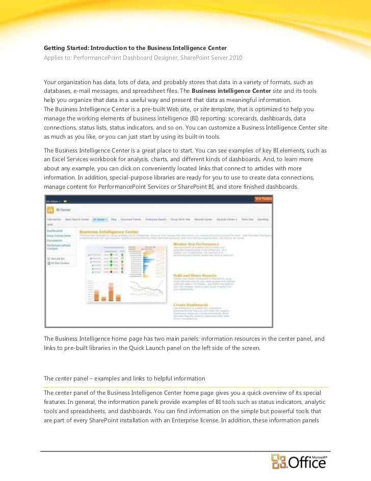 Getting Started Introduction to the Business Intelligence Center - EPC Group