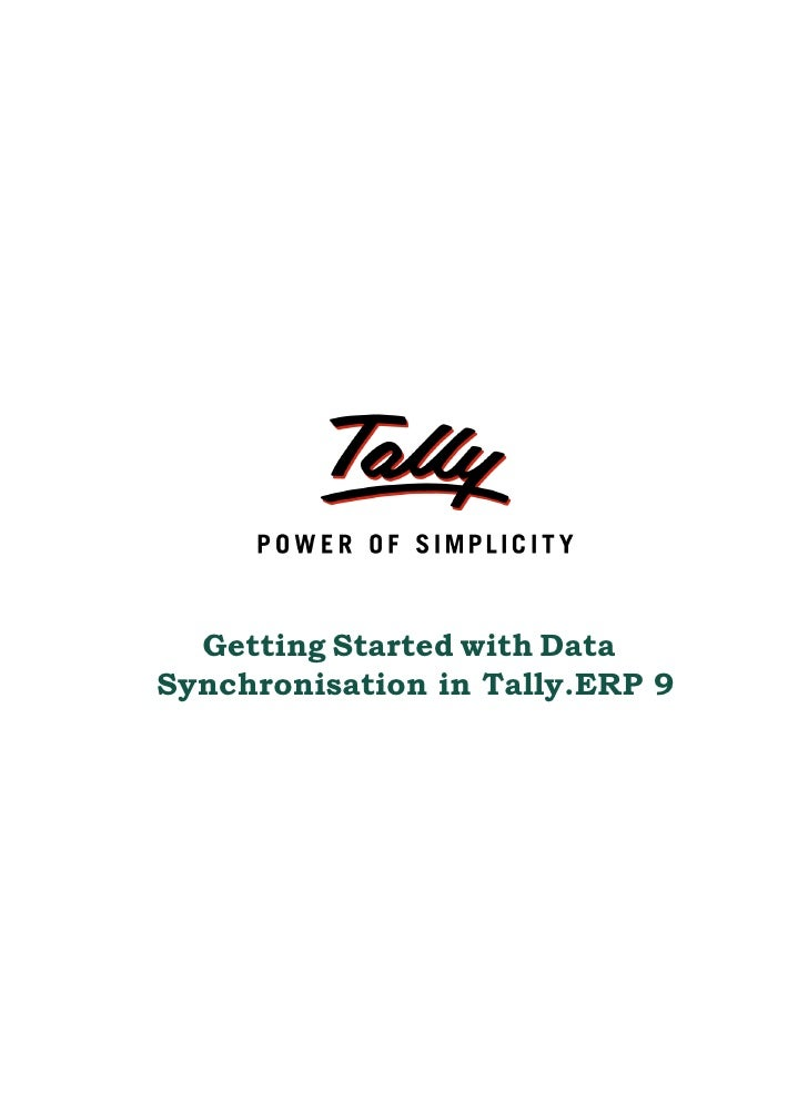 Getting Started with DataSynchronisation in Tally.ERP 9