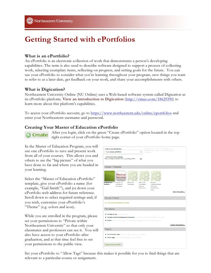 Getting Started with ePortfoliosWhat is an ePortfolio?An ePortfolio is an electronic collection of work that demonstrates ...