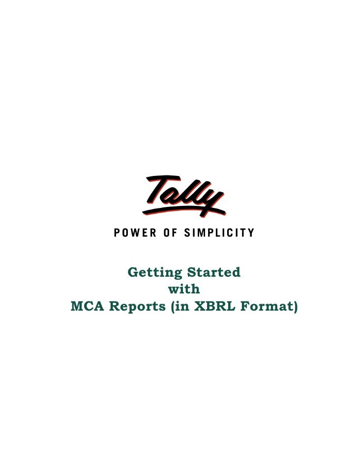 Getting started with mca reports (in xbrl format) | Tally Corporate Services | Tally Features | Tally Support