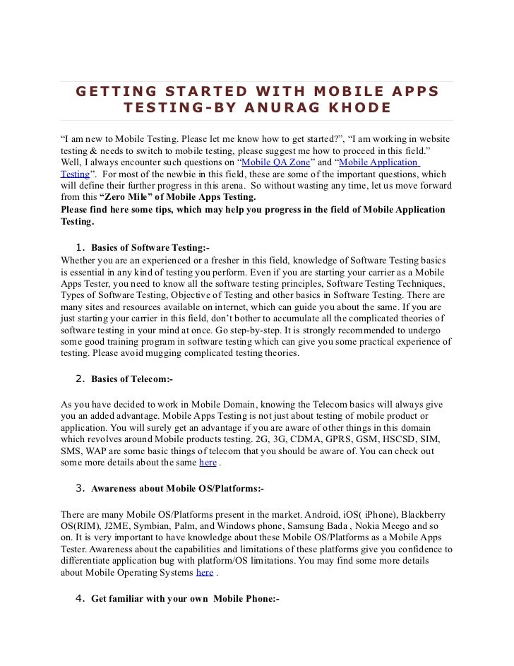 """GETTING STARTED WITH MOBILE APPS       TESTING-BY ANURAG KHODE""""I am new to Mobile Testing. Please let me know how to get s..."""