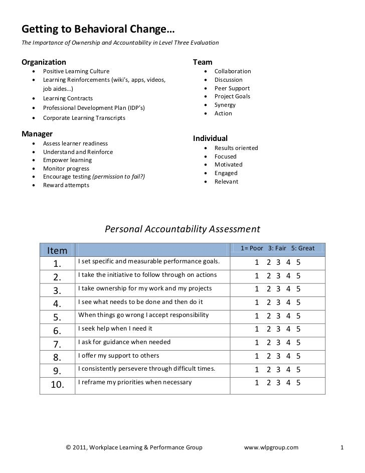 Getting to Behavioral Change…The Importance of Ownership and Accountability in Level Three EvaluationOrganization         ...